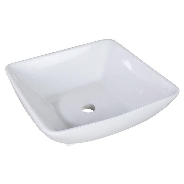 """Vasque avec trop-plein, 16,5"""", céramique, blanc"""