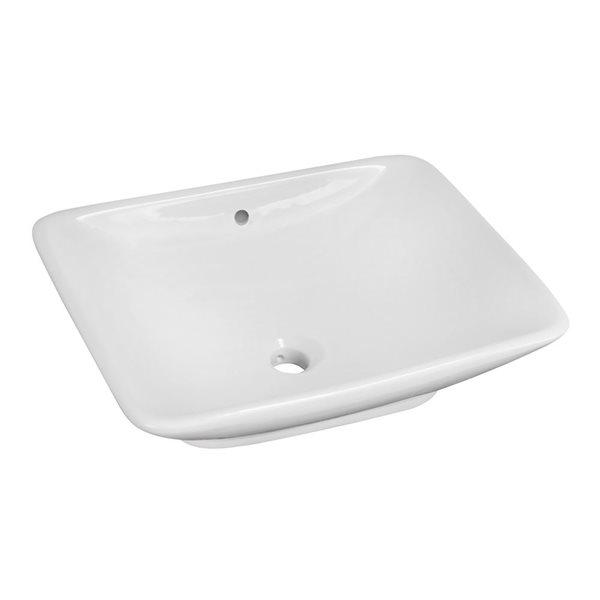 """Vasque avec trop-plein, 21,5"""", céramique, blanc"""