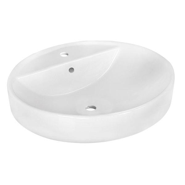 """Vasque avec trop-plein, 18,1"""", céramique, blanc"""