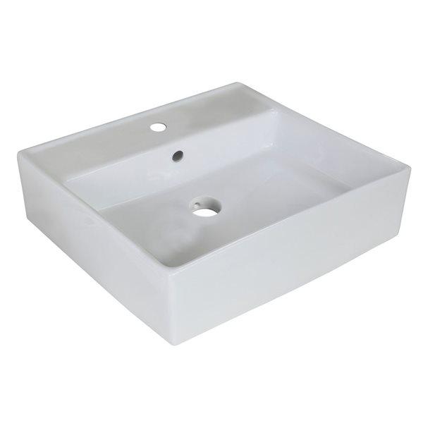 """Vasque avec trop-plein, 18"""", céramique, blanc"""