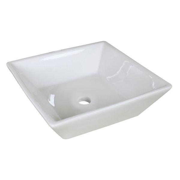 """Vasque avec trop-plein, 15,75"""", céramique, blanc"""