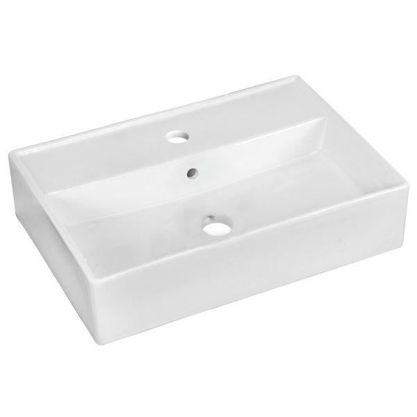 """Vasque avec trop-plein, 19,75"""", céramique, blanc"""