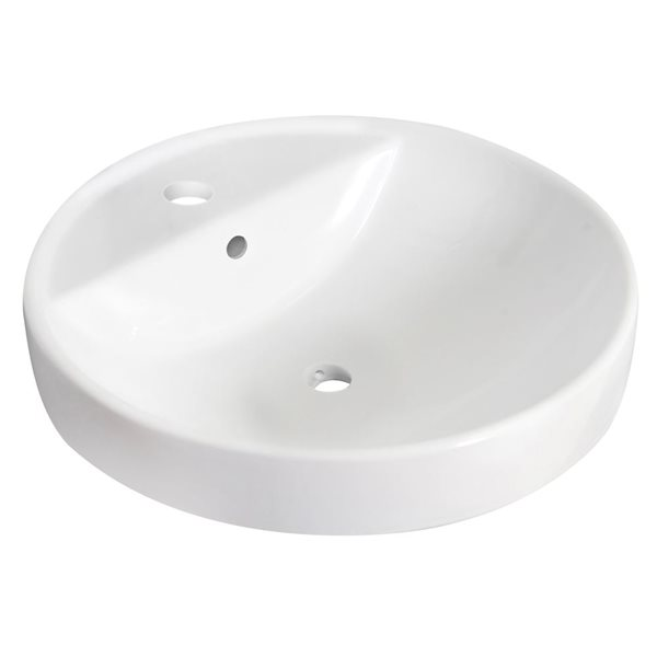 "Vasque encastrée, 18,25"", céramique, blanc"