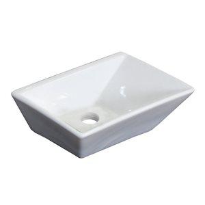 """Vasque avec trop-plein, 12"""", céramique, blanc"""