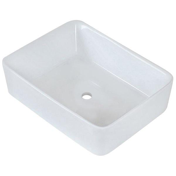 """Vasque avec trop-plein, 18,75"""", céramique, blanc"""