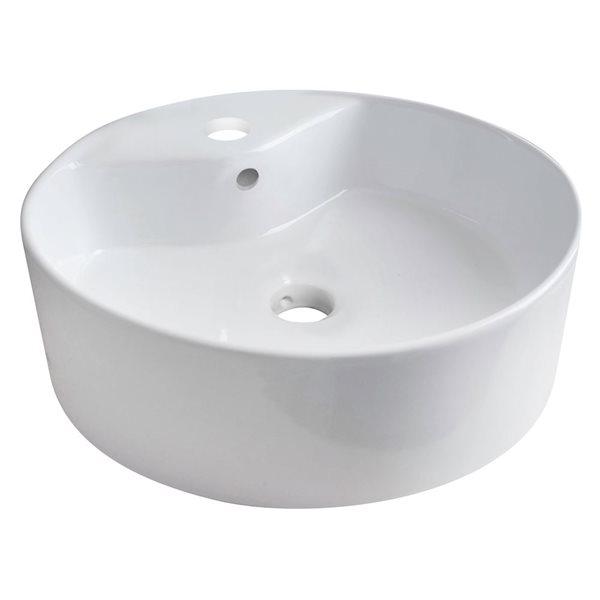"""Vasque avec trop-plein, 18,25"""", céramique, blanc"""