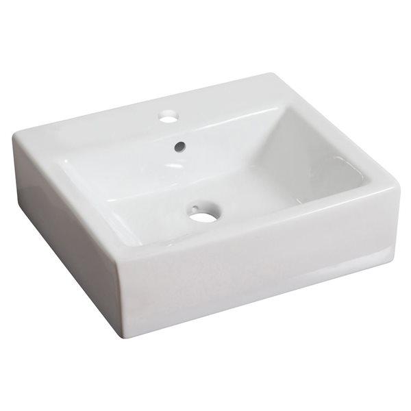 """Vasque avec trop-plein, 21"""", céramique, blanc"""