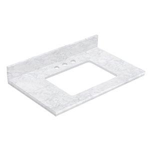 American Imaginations 30.5- in x 18.75- in White Shaker Quartz Vanity Top