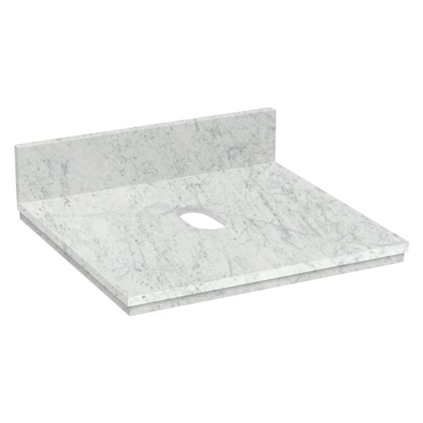 "Dessus en marbre Elite, 19,75"" x 18,3"", blanc"
