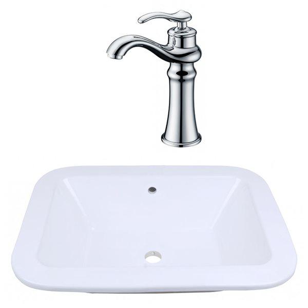 "Ens. vasque encastrée, 21,75"", céramique, blanc"