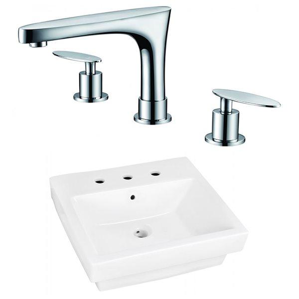 """Ens. vasque semi-encastrée, 20,5"""", céramique, blanc"""