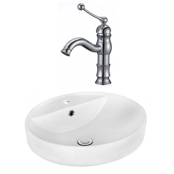 """Ens. vasque avec trop-plein, 18,1"""", céramique, blanc"""