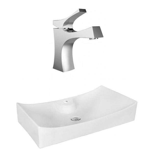 """Ens. vasque avec trop-plein, 26,25"""", céramique, blanc"""