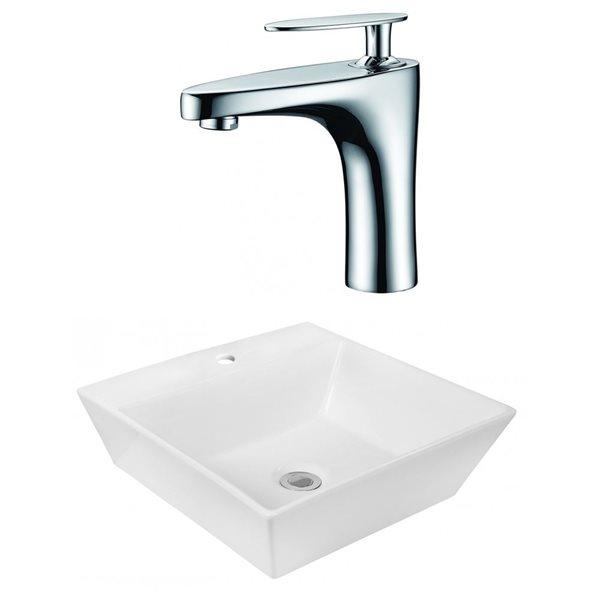 """Ens. vasque avec trop-plein, 16,5"""", céramique, blanc"""