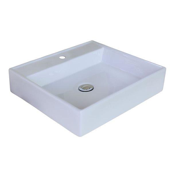 """Ens. vasque avec trop-plein, 17"""", céramique, blanc"""