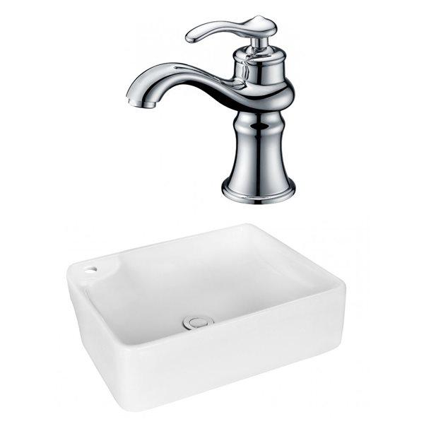 """Ens. vasque avec trop-plein, 17,25"""", céramique, blanc"""