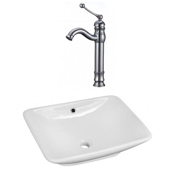 """Ens. vasque avec trop-plein, 21,5"""", céramique, blanc"""