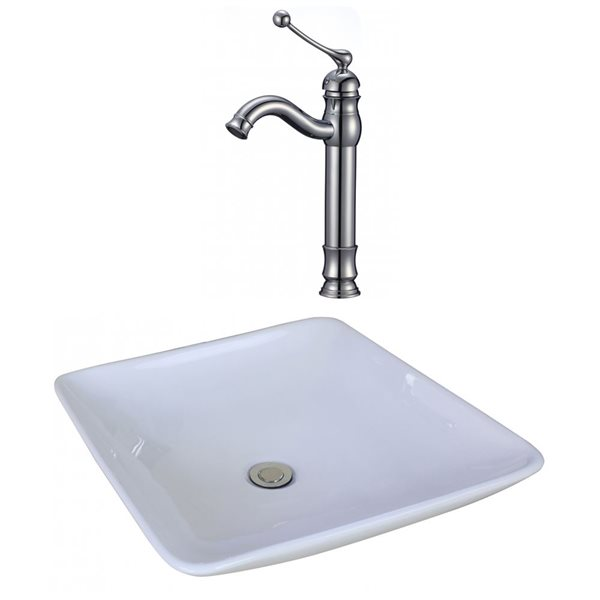 """Ens. vasque avec trop-plein, 16,75"""", céramique, blanc"""