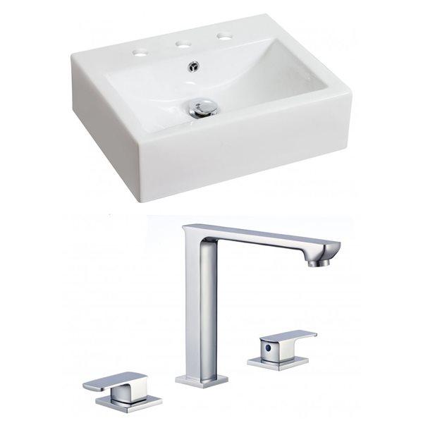 """Ens. vasque avec trop-plein, 20,25"""", céramique, blanc"""