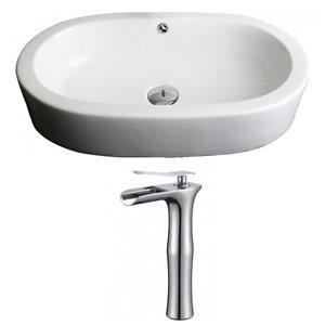 """Ens. vasque semi-encastrée, 25,25"""", céramique, blanc"""