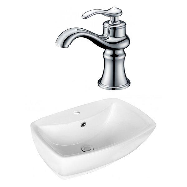 """Ens. vasque avec trop-plein, 21,75"""", céramique, blanc"""