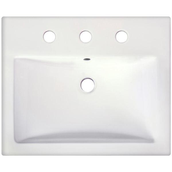 """Vasque semi-encastrée, 20,75"""", céramique, blanc"""