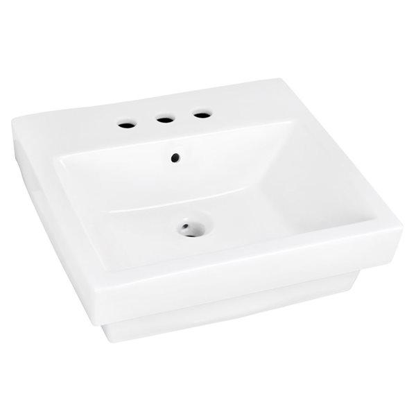 """Vasque avec trop-plein, 19"""", céramique, blanc"""