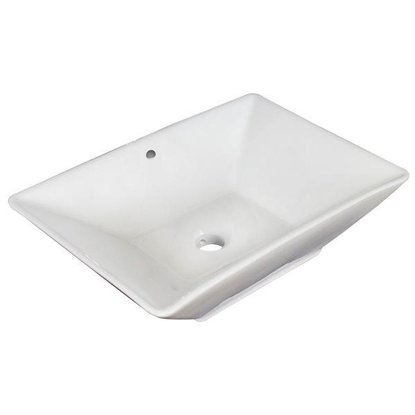 """Vasque avec trop-plein, 22"""", céramique, blanc"""