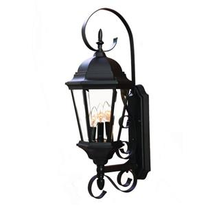Acclaim Lighting New Orleans 25-in Matte Black 3-Light Outdoor Wall Lantern
