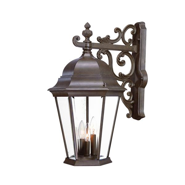 Acclaim Lighting Richmond 22-in Burled Walnut 3-Light Clear Beveled Outdoor Wall Lantern