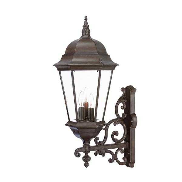 Acclaim Lighting Richmond 29.25-in Burled Walnut 3-Light Clear Beveled Outdoor Wall Lantern