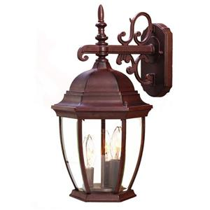 Acclaim Lighting Wexford 17.5-in Burled Walnet 3-Light Outdoor Wall Lantern