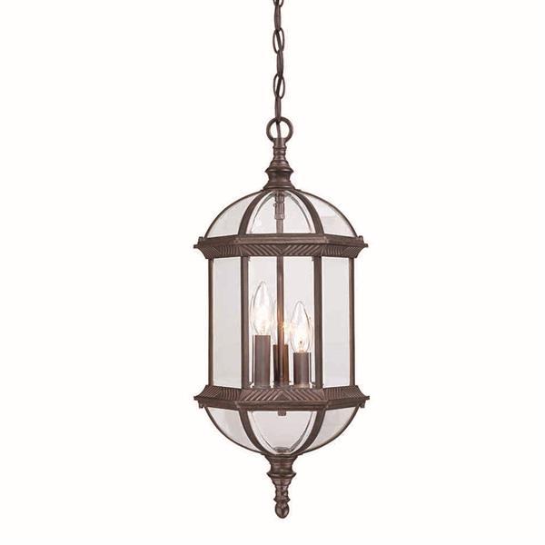 Acclaim Lighting Dover 22.25-In x  9.75-In Burled Walnut 3 Light Hanging Outdoor Lantern