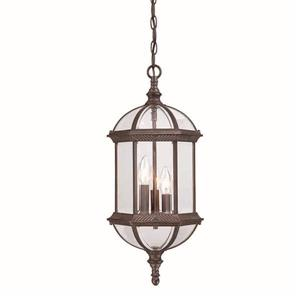 Acclaim Lighting Dover 22.25-In x  9.75-In Burled Walnut 3 Light Hanging Outdoor Lantern