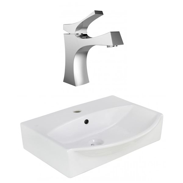 """Ens. vasque avec trop-plein, 19,5"""", céramique, blanc"""