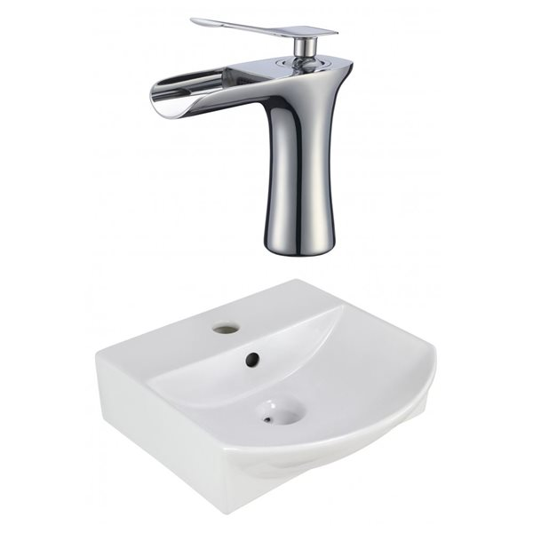 American Imaginations 13.75-in W Rectangle Vessel Set With 1 Hole Center Faucet Above Counter