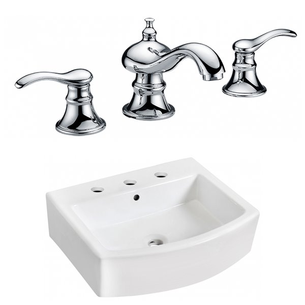 American Imaginations 22.25-in W Rectangle Vessel Set With 3 Hole 8-in CTC Center Faucet White