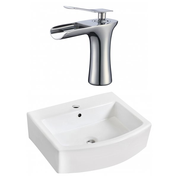 """Ens. vasque avec trop-plein, 22,25"""", céramique, blanc"""