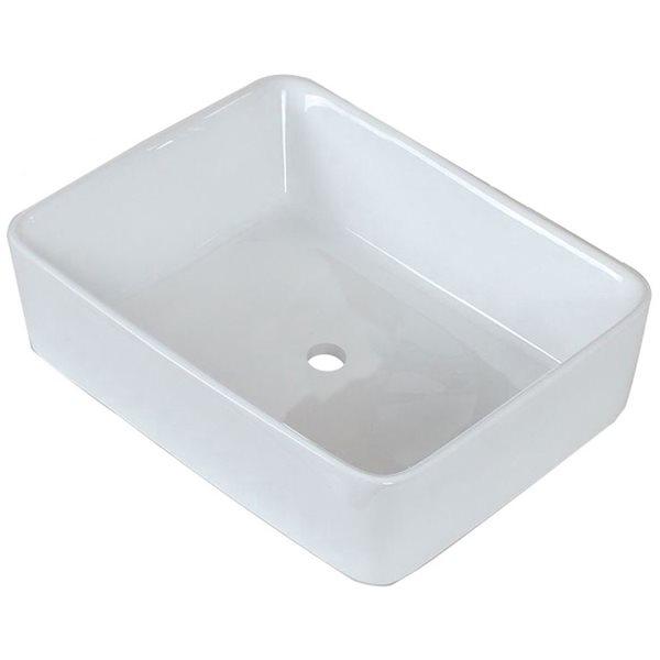 """Ens. vasque avec trop-plein, 18,75"""", céramique, blanc"""
