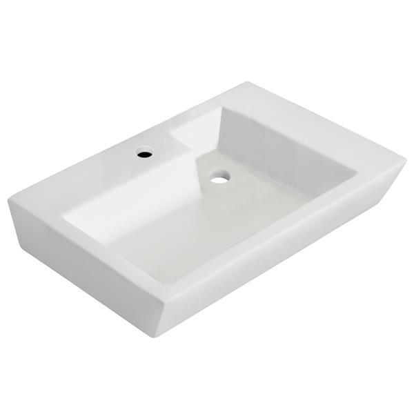 """Vasque avec trop-plein, 26"""", céramique, blanc"""