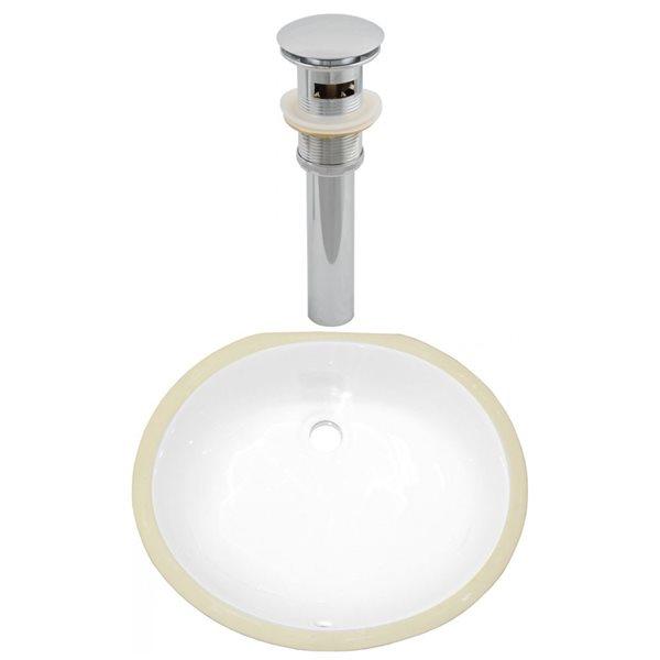American Imaginations White 18.25-in CUPC Ceramic Rectangular Undermount Sink Set With Chrome Sink Drain