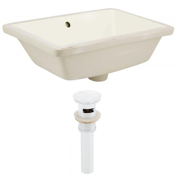 American Imaginations 18.25-in Ceramic Rectangle Undermount Sink Set White/Biscuit