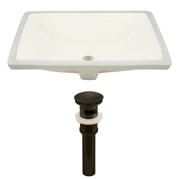 American Imaginations 20.75-in W Rectangle Undermount Sink Set Oil-Rubbed Bronze/Biscuit