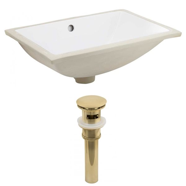 American Imaginations 20.75-in W Rectangle Undermount Sink Set White/Gold
