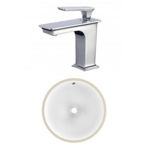 American Imaginations 15-in W CSA Round Undermount Sink Set With 1 Hole CUPC Faucet White