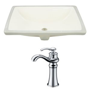 American Imaginations Buscuit 18.25-in CUPC Ceramic Rectangular Undermount Sink Set With Chrome Faucet