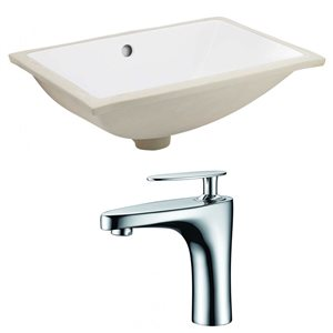 American Imaginations 20.75-in W Rectangle Undermount Sink Set With 1 Hole CUPC Faucet White