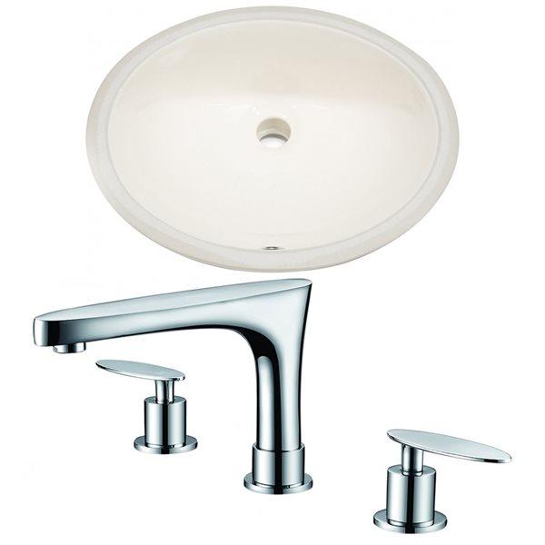 American Imagination 19.75-in Ceramic Biscuit Undermount Sink Set
