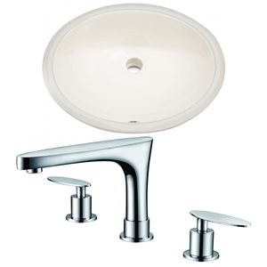 American Imagination 19.75-in Ceramic Biscuit Undermount Sink Set