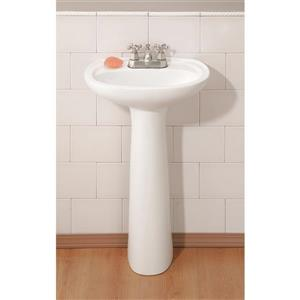 "Cheviot Fiore Pedestal Bathroom Sink - 21"" x 16 1/8"" - White"